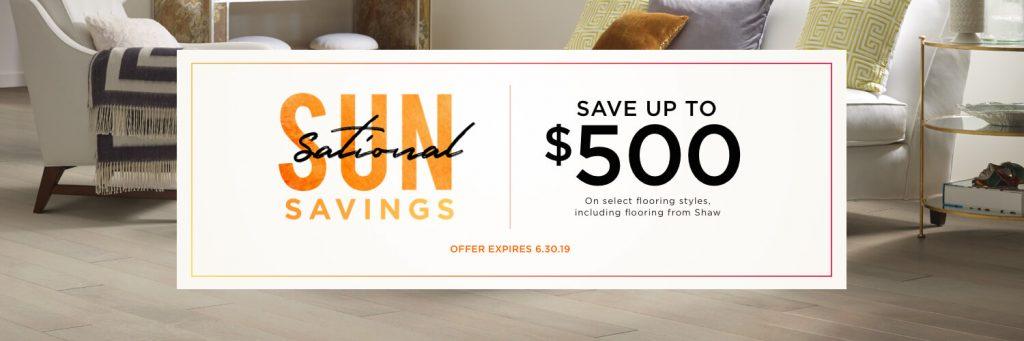 Sun sational savings banner | The Carpet Stop