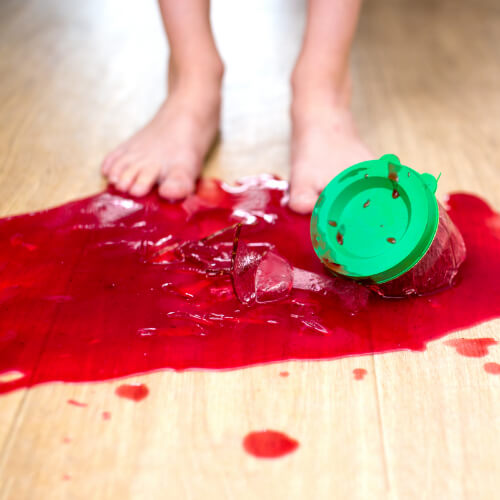 Juice spill on hardwood floor | The Carpet Stop